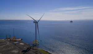 Image shows an offshore turbine at ORE Catapult Levenmouth
